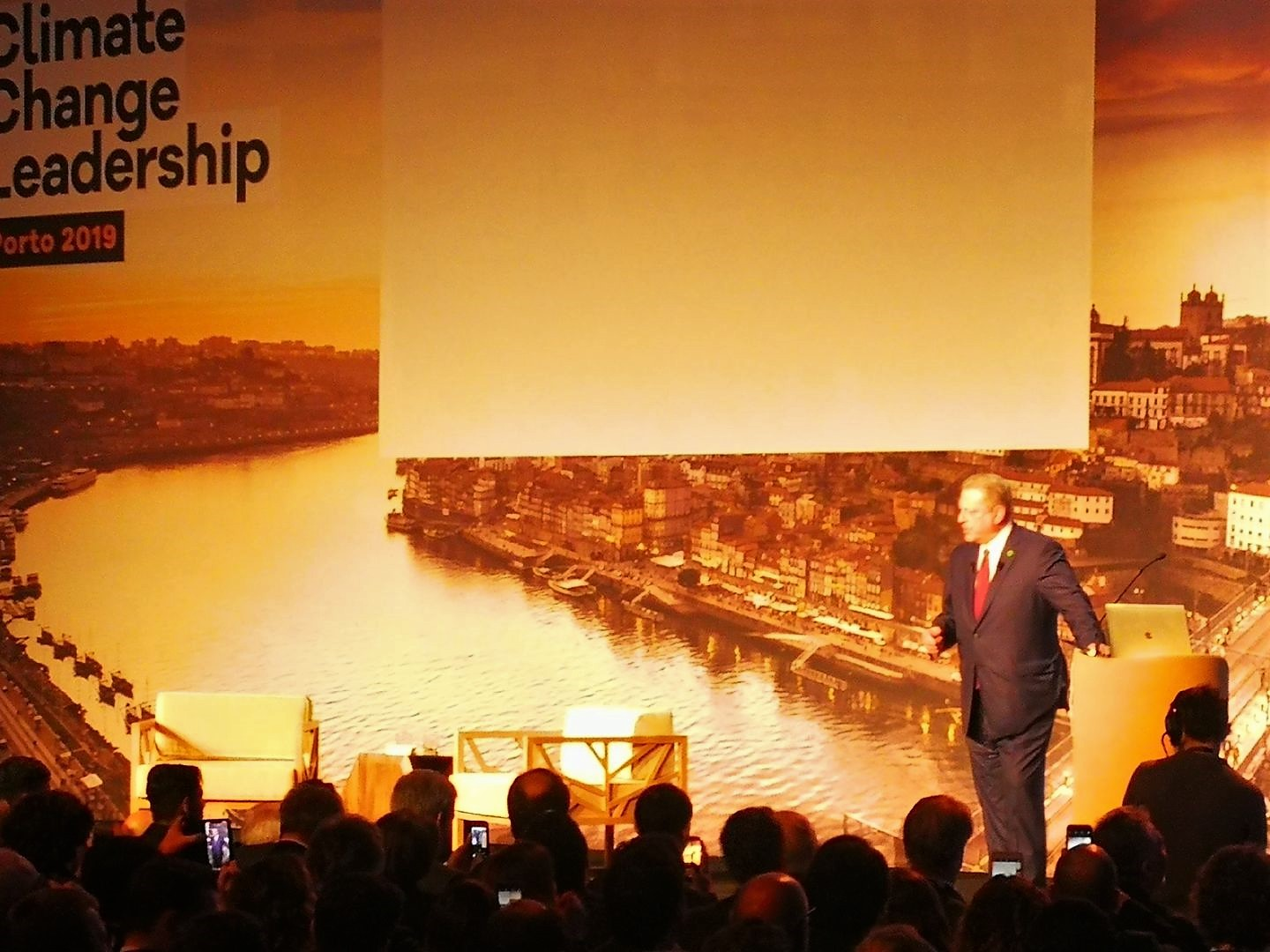AL Gore speaks on the current global emergency at the Climate Change Leadership Conference